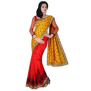Red & Yellow Banarasi Raw Silk Saree