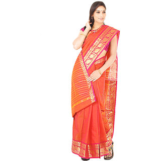 Orange & Pink Border Chettinad Saree