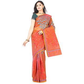 Orange Supernet Cotton Saree