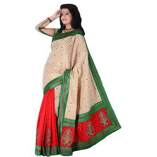 Green & Red Chanderi Silk Cotton Saree