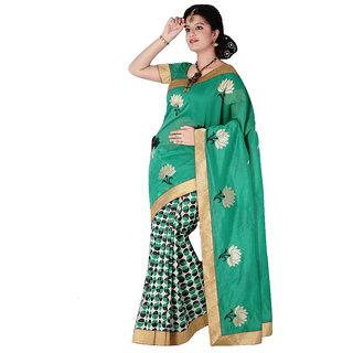 Green & Black Chanderi Silk Cotton Saree