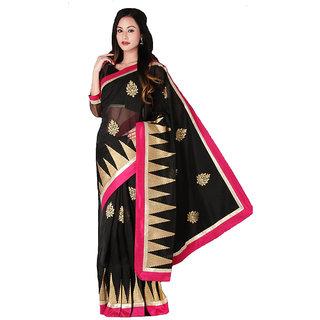 Black & Pink Border Chanderi Silk Cotton Saree