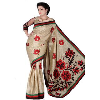 Red & Green Border Khadi Silk Saree