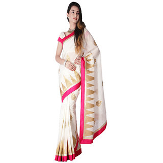 White & Pink Chanderi Silk Cotton Saree