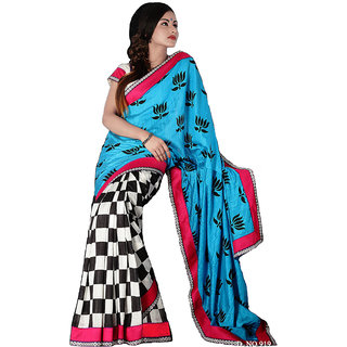 Blue & Red Banarasi Raw Silk Saree