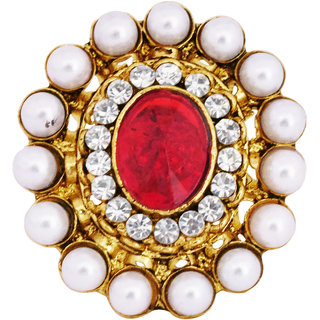 Classic Maroon Stone Studded Ring By 24Karats