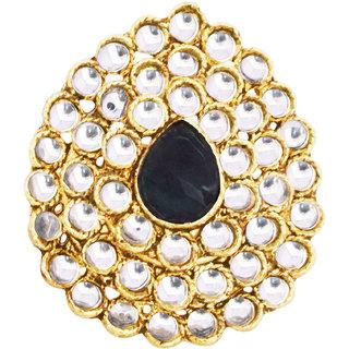 Oval Shaped Blue Stone Studded Kundan Ring By 24Karats