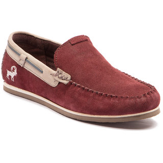 buy yezdi men's maroon slip on casual shoes online  ₹2995