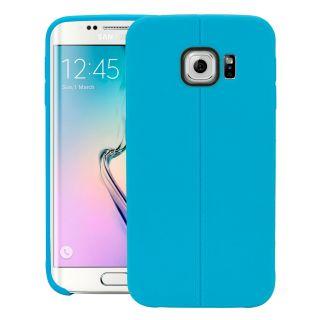 CUBIX Vega Series Leatherette 2 Line Flexible Tpu Jacket Back Case Cover For Samsung Galaxy S6 Edge (Blue)