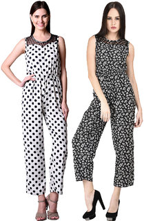 Westrobe Women White Polka Dot And Black Floral Printed Crepe Jumpsuits Combo