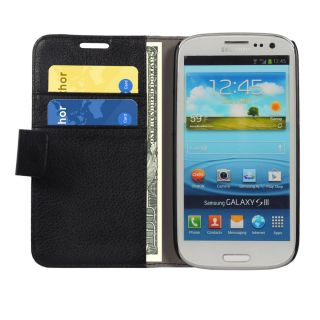 Cubix Leather wallet book style Case cover stand for Samsung Galaxy S3 (Black)