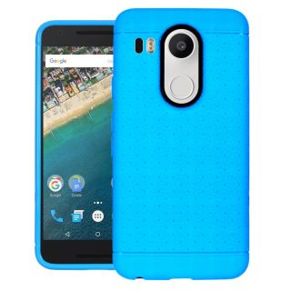 CUBIX Network Series Case Cover for LG Nexus 5X (Sky Blue) Grip Tpu Soft Jacket Back Case Cover Bumper Leather Touch  feel