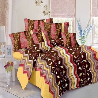 Welhouse Cotton Floral Brown Double Bedsheet with 2 Contrast Pillow Covers(TC-129)