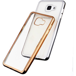 Back Cover for Samsung Galaxy A7 (2016) (Transparent with Golden Boundry)
