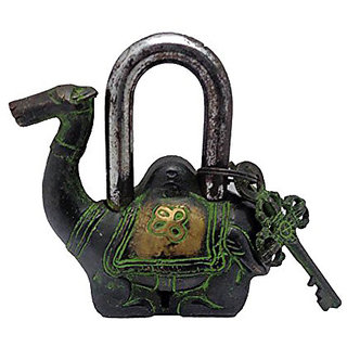 Camel shape Antique Green look Functional metal Pad Lock with 2 Keys