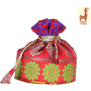 Cottage Emporium Round Potli Brocade Red