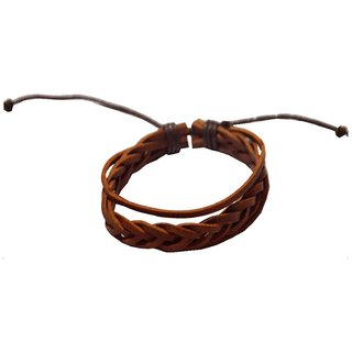 Men Style 2016 New Fashion Handmade   Brown  Leather Flat Bracelet For Men And Women