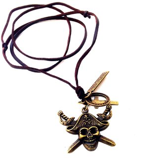 Jocular Pirate Design Brown Leather Strap Stylish Bornze Styled Locket