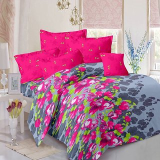 Welhouse Cotton Floral Multi Double Bedsheet with 2 Contrast Pillow Covers(TC-129)