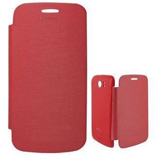 Red Flip Cover Back Replace Book Case for Micromax A110 Canvas 2 Superfone