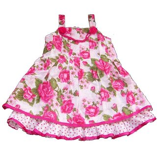Sarrah Girls Pink & Green Floral Dress (Size: 24)