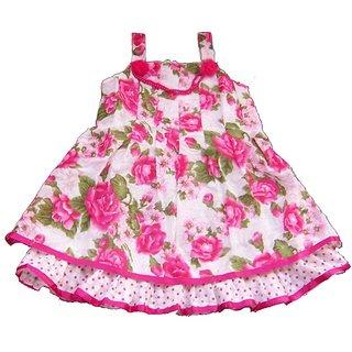 Sarrah Girls Pink & Green Floral Dress (Size: 26)