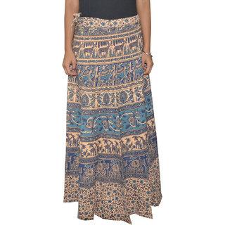 Sunshine Sanganeri Printed Women's Multicolor Long Wrap Around Skirts-0307