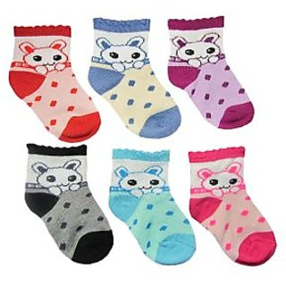 Set of 6 cartoon kids socks