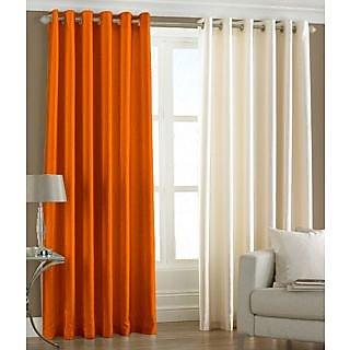 Panipat Textile Hub Orange OR Cream Plain Polyster Eyelet Window Curtains set of 2 Size 4x5 (PT2WC-343)