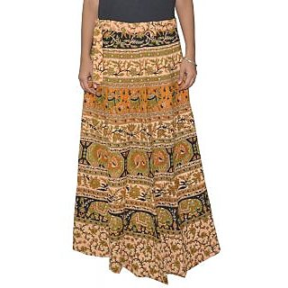 Sunshine Sanganeri Printed Women's Multicolor Long Wrap Around Skirts-0309