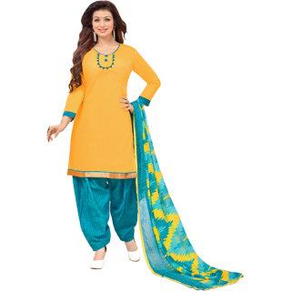 Khushali Presents Cotton Patiyala Dress Material (Yellow,Sky Blue)