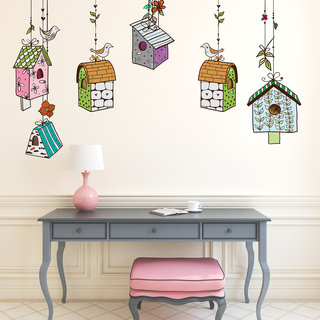 Destudio Multi Huts With Birds Wall Stickers (Wall Covering Area  115Cm X 60Cm)-12545