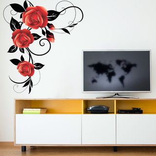 Destudio Red Rose With Black Leaves And Vine Wall Stickers (Wall Covering Area  80Cm X 91Cm)-12558