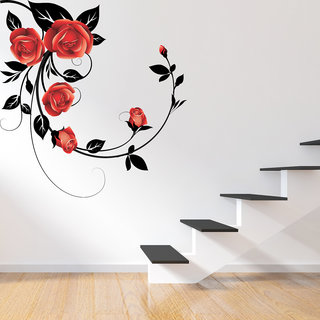 Destudio Red Rose With Black Leaves Wall Stickers (Wall Covering Area  91Cm X 91Cm)-12559
