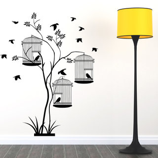 Destudio Tree With Three Cages Wall Stickers (Wall Covering Area  100Cm X 125Cm)-12569