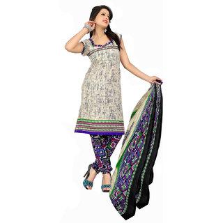 Khushali Crepe Chudidar Dress Material (Cream And Multi)
