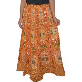 Sunshine Jaipuri Printed Women's Multicolor Long Wrap Around Skirts-0316