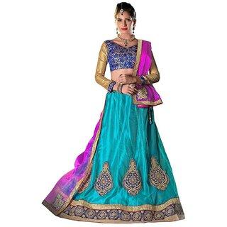 Sky Blue  Pink Color Semi Stitched Lehenga Choli