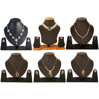 Touchstone Gold And Rhodium Plated Combo of Contemporary And Pretty Four Necklace Set And Two Pendant Set