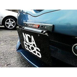 Black-Carbon Fiber Adjustable Rotating Number Plate Auto License Plates Frame Holder