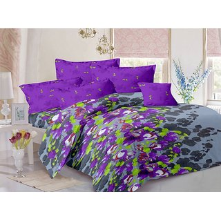 Valtellina Cotton Floral Multi Double Bedsheet with 2 Contrast Pillow Covers(TC-129)