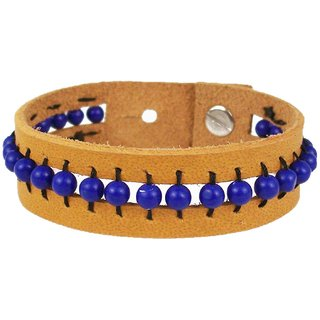 Sakhi Styles men's handmade genuine leather bracelet with bed work adjustable size with metal stud closer.