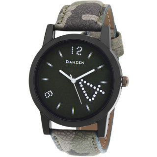 Danzen Oval Dial Green Leather Strap Analog Men's Watch