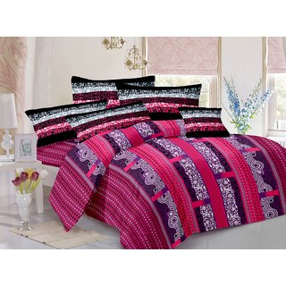 Welhouse Cotton Traditional Brown Double Bedsheet with 2 Contrast Pillow Covers(TC-129)