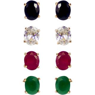 Jewels Gehna American Diamond Combo of 4 Earring Set