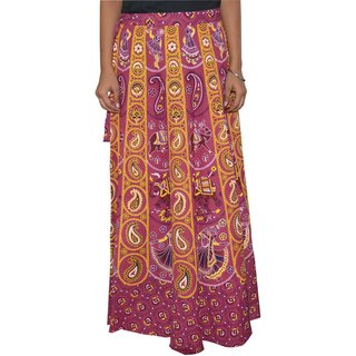 Sunshine Sanganeri Printed Women's Multicolor Long Wrap Around Skirts-0326