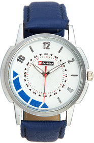 Lotto Round Dial Blue Leather Strap Mens Quartz Watch