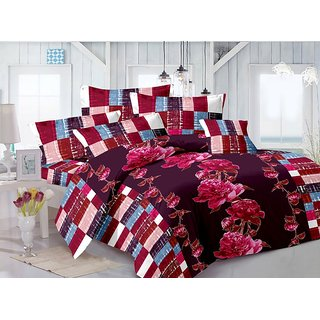 ValtellinaCotton Floral Pink Double Bedsheet with 2 Contrast Pillow Covers(TC-129)