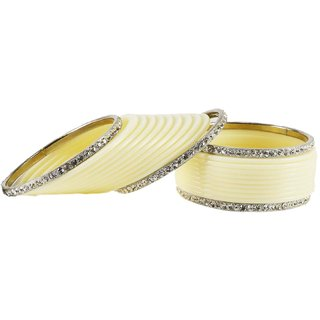 white Stone Acrylic-Brass Bangle
