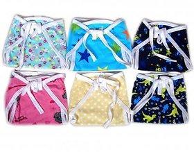 6 Pcs Set New born Baby Cotton Cloth Nappies Multicolour